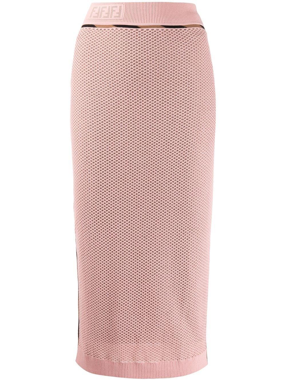 Fendi юбка-карандаш с сетчатой вставкой и логотипом FF