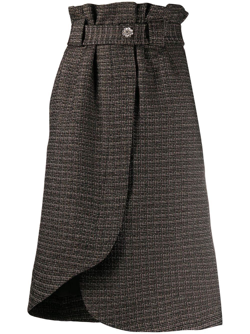 GANNI tweed wrap skirt