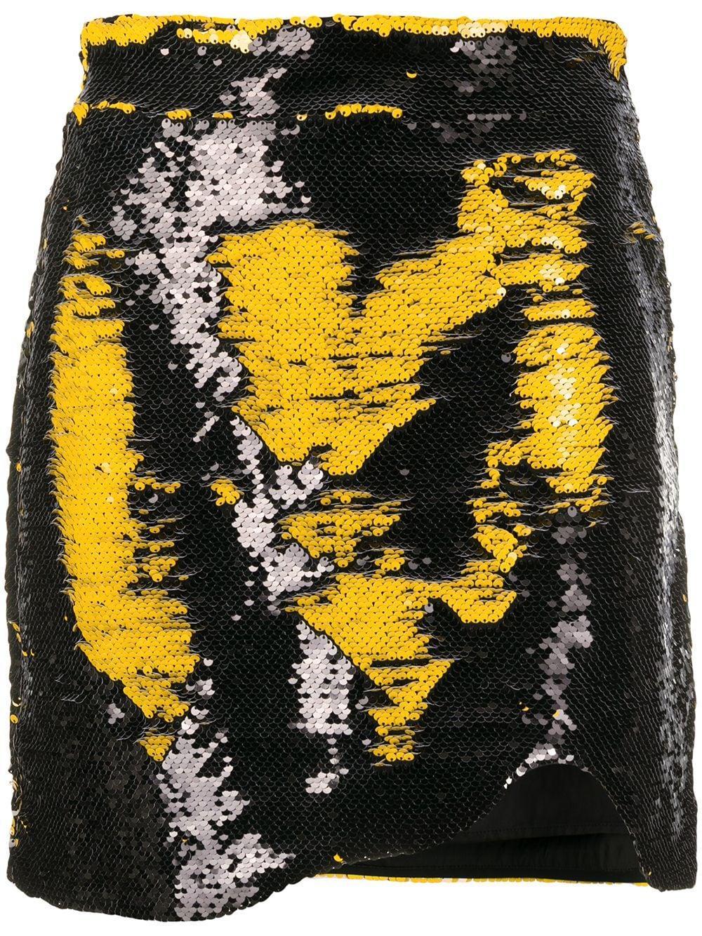 Ganni юбка асимметричного кроя с графичным принтом