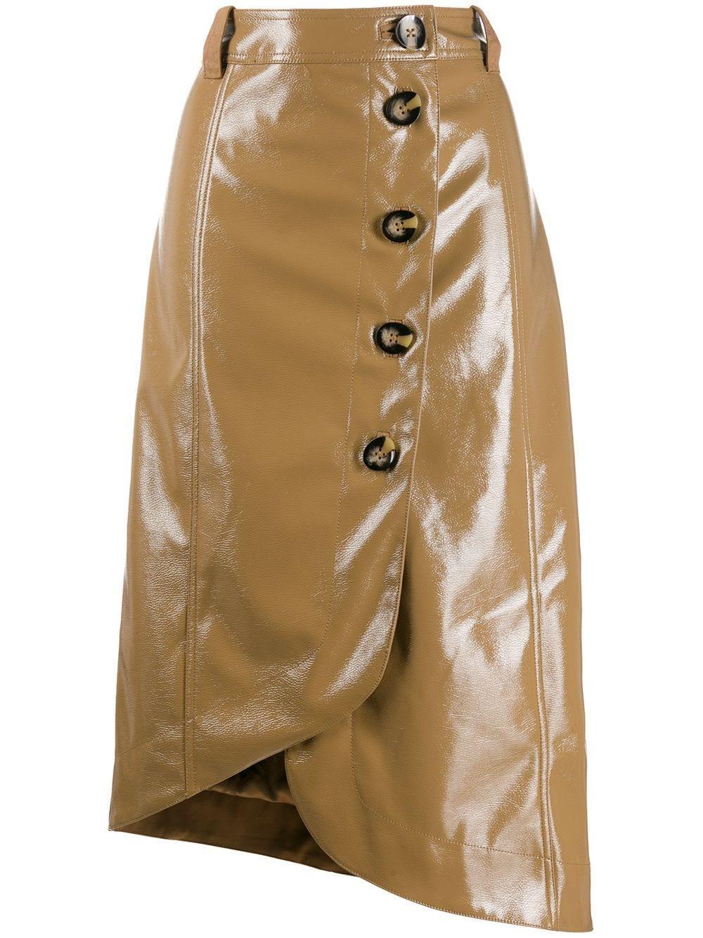 Ganni юбка асимметричного кроя с пуговицами