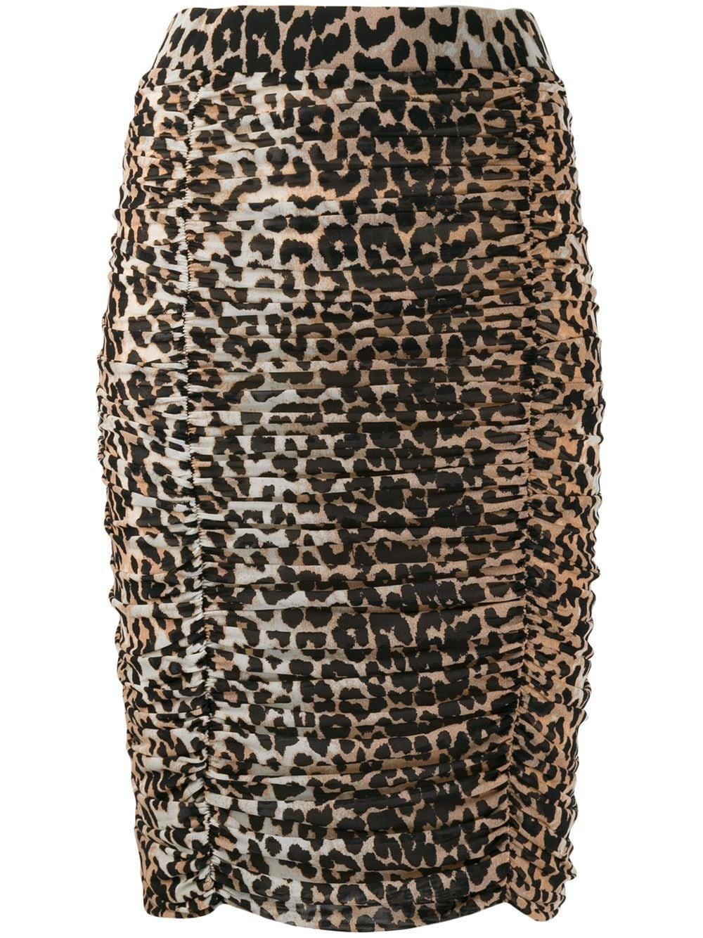 Ganni юбка-карандаш со сборками и леопардовым принтом