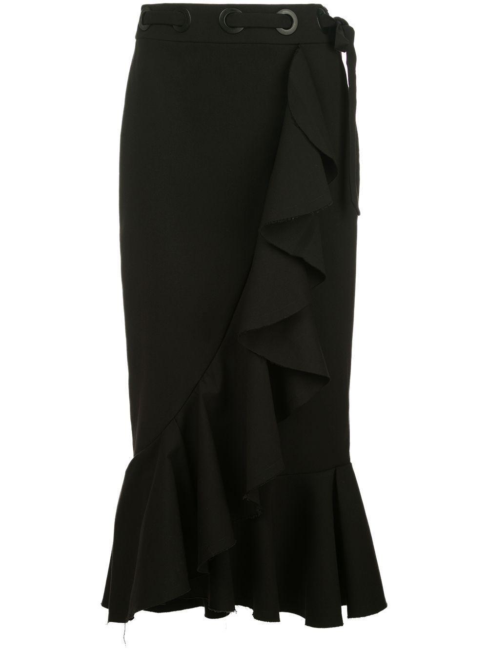 Johanna Ortiz ruffle-trimmed midi pencil skirt