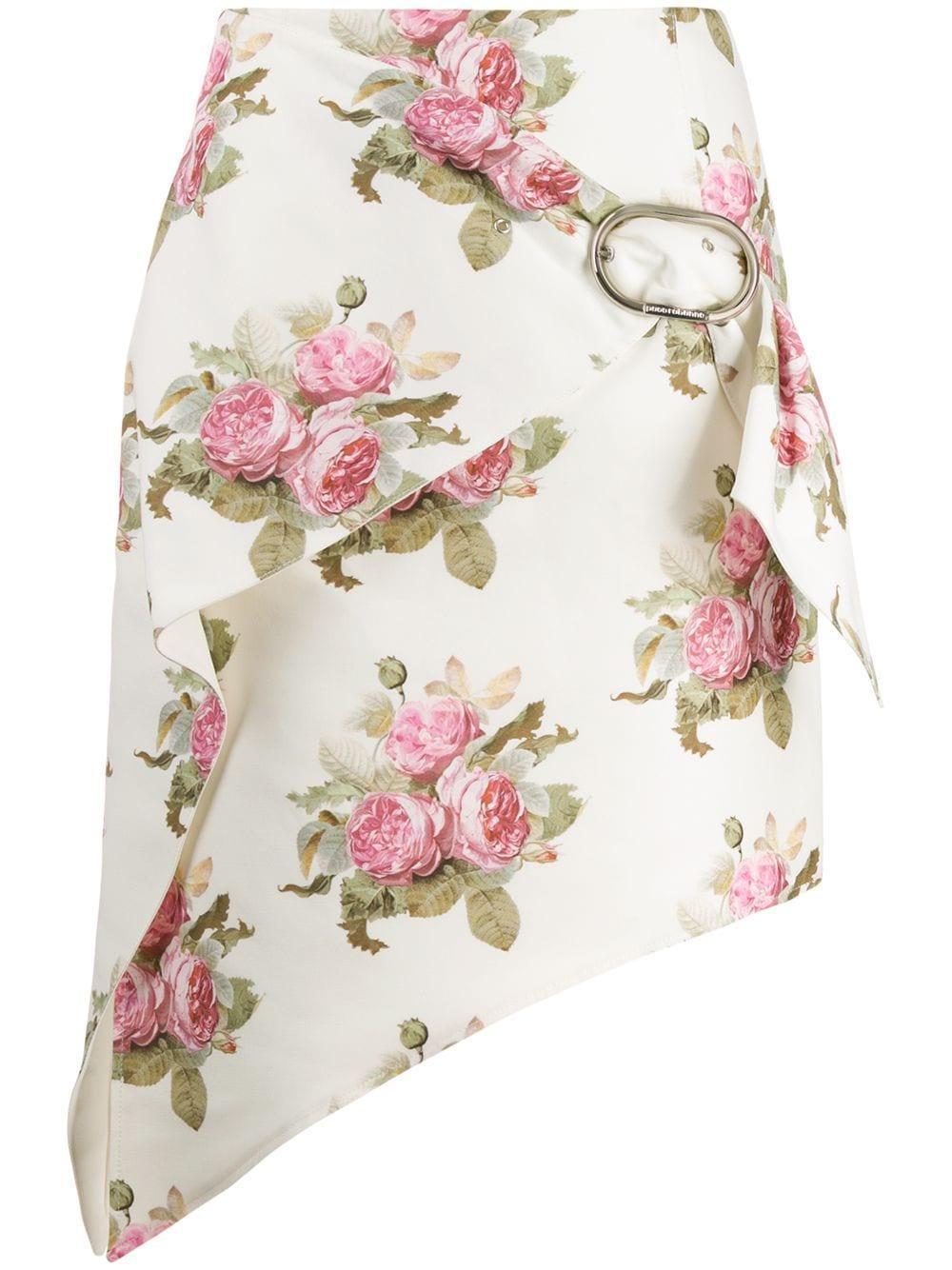 Paco Rabanne юбка с цветочным принтом и запахом