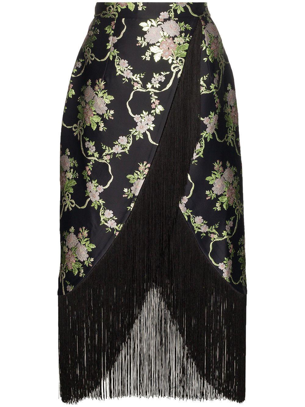 Taller Marmo floral jacquard fringe wrap skirt