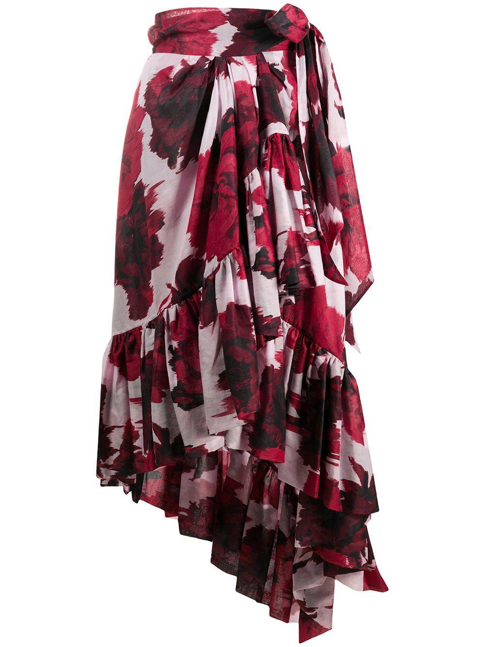 Alexandre Vauthier юбка асимметричного кроя с цветочным принтом