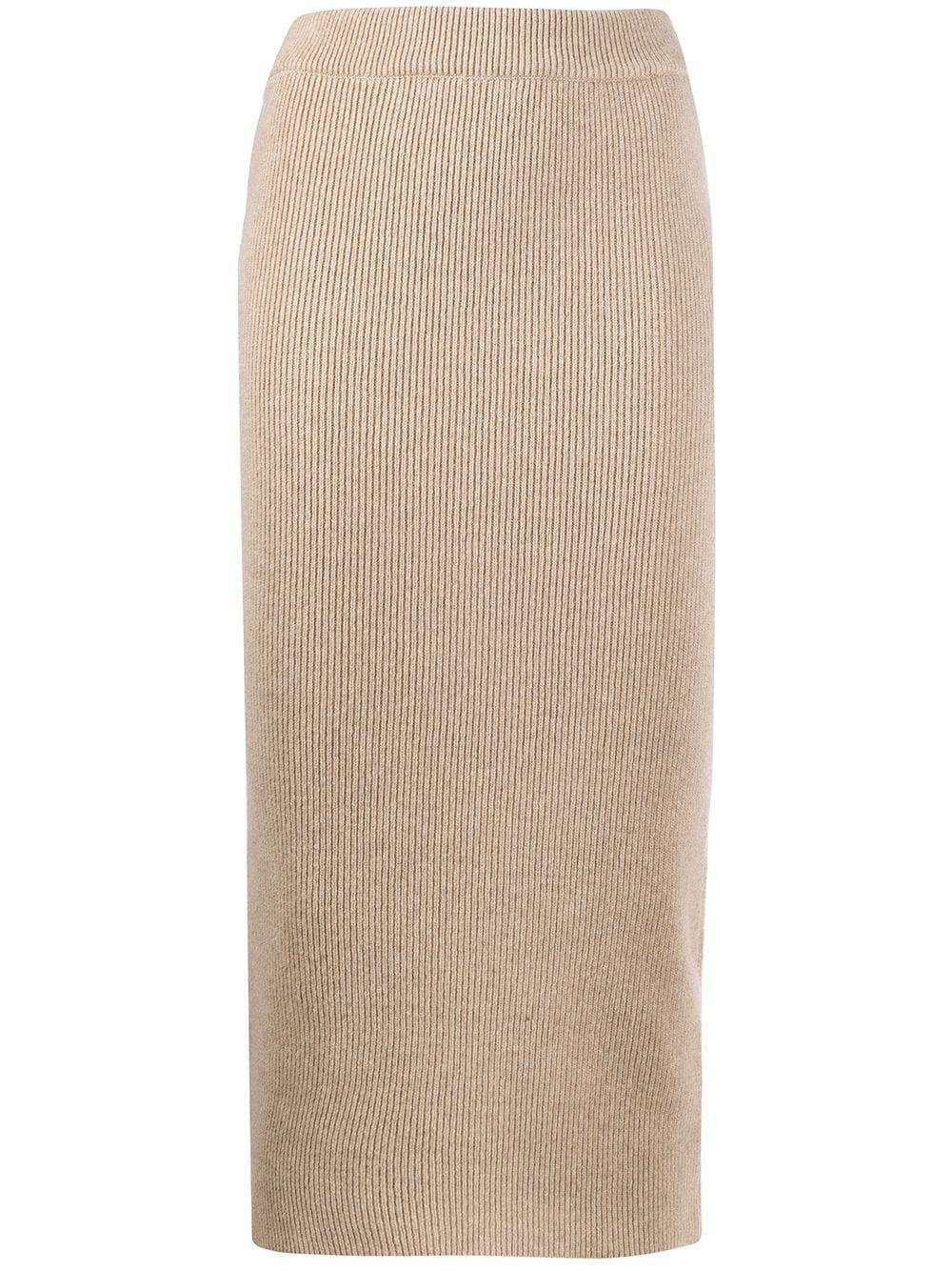 ANINE BING трикотажная юбка-карандаш в рубчик