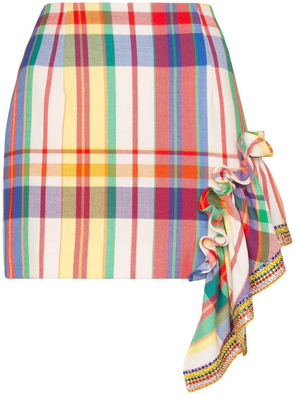 Area ruffled crystal-embellished plaid mini skirt