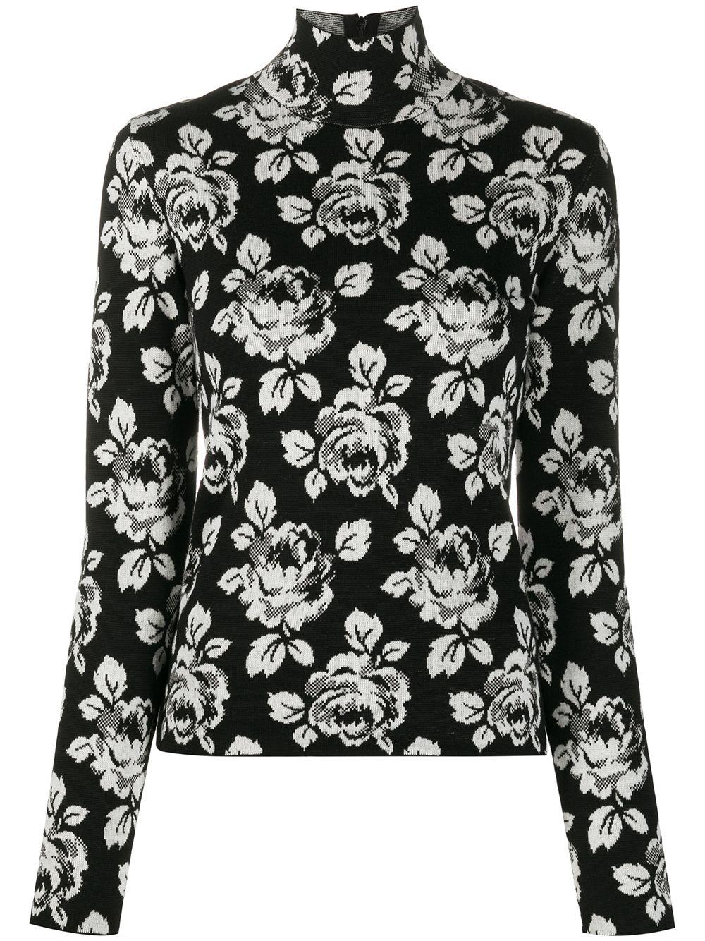 Balenciaga intarsia rose turtle-neck jumper