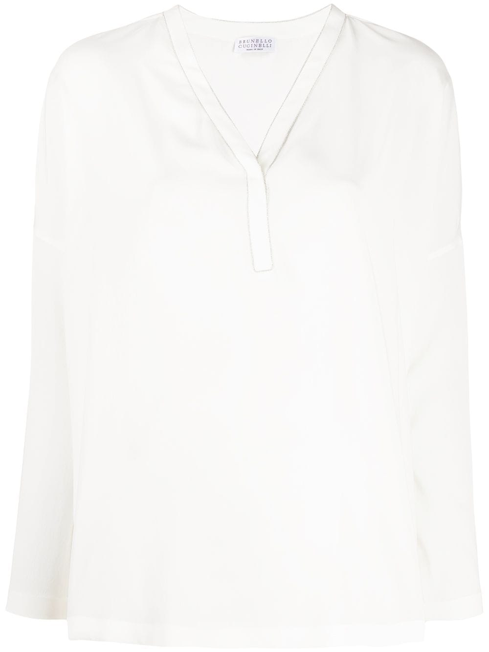Brunello Cucinelli блузка с длинными рукавами и V-образным вырезом