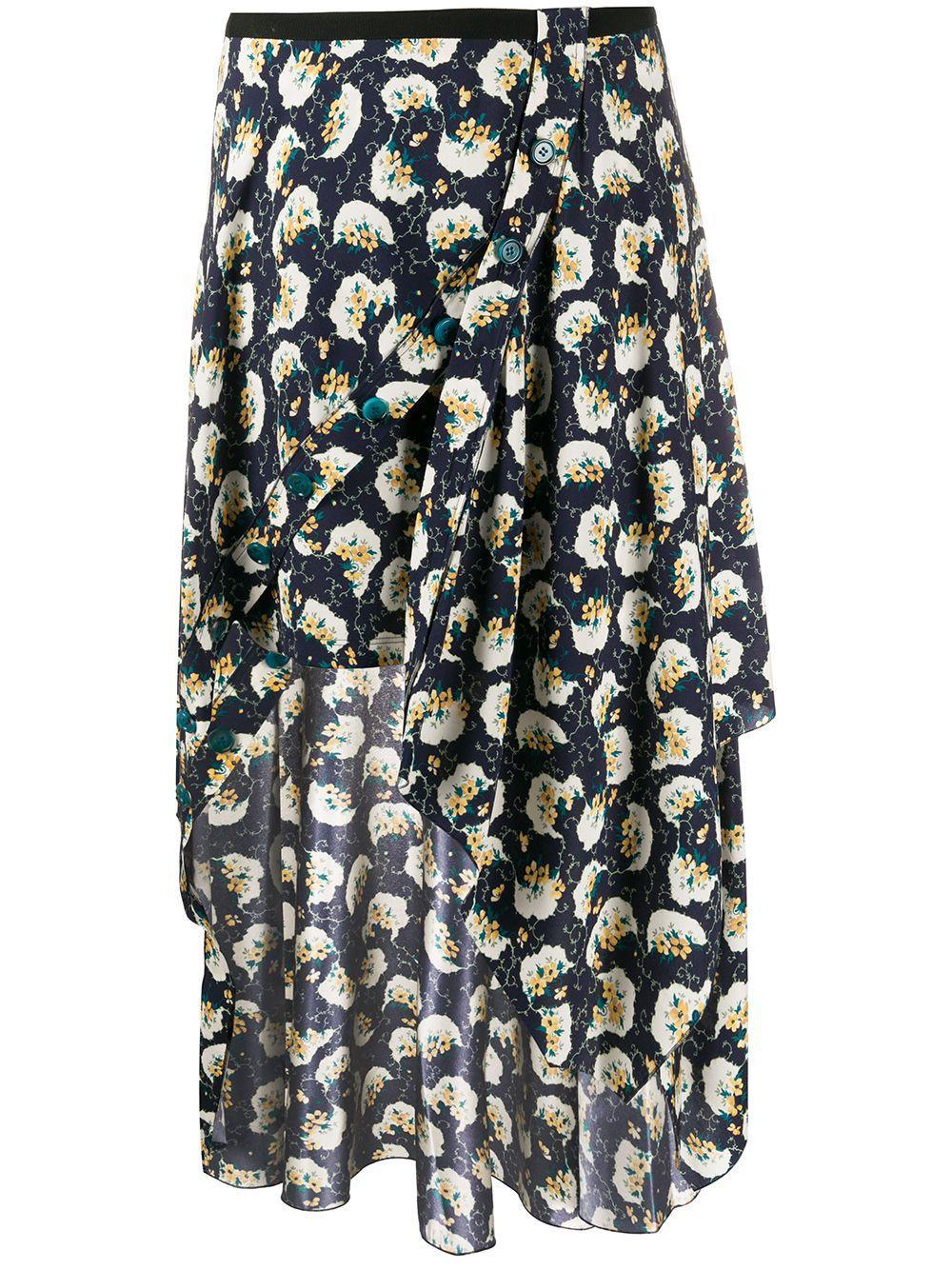 Chloé юбка асимметричного кроя с цветочным принтом