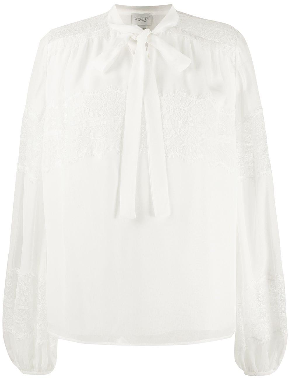 Giambattista Valli lace-insert balloon-sleeved blouse