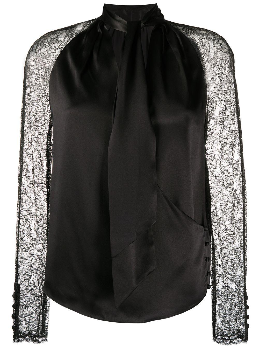 Jonathan Simkhai атласная блузка с кружевными рукавами