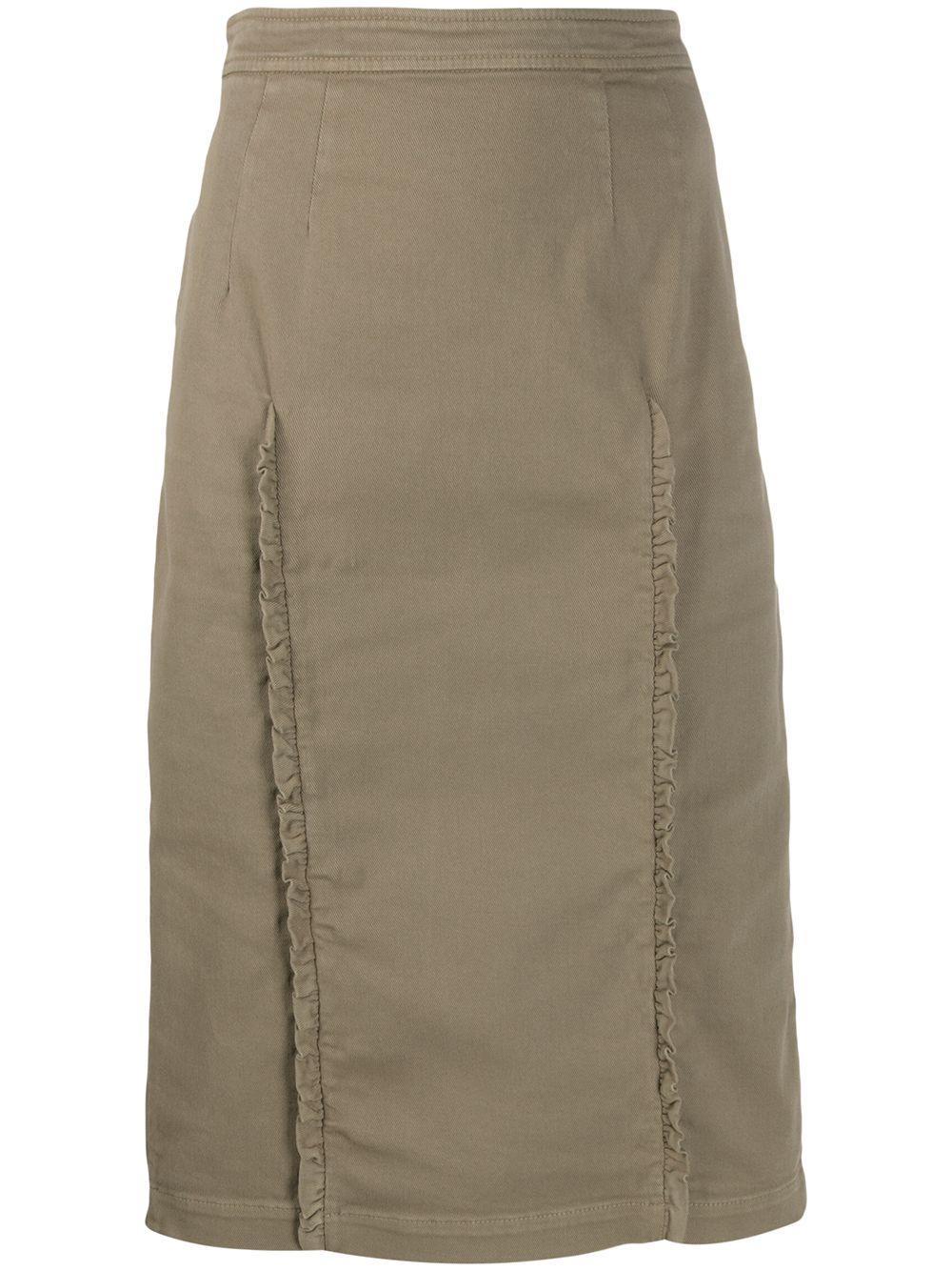 Nº21 джинсовая юбка-карандаш с оборками
