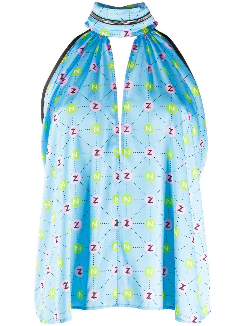 Natasha Zinko logo print halter blouse