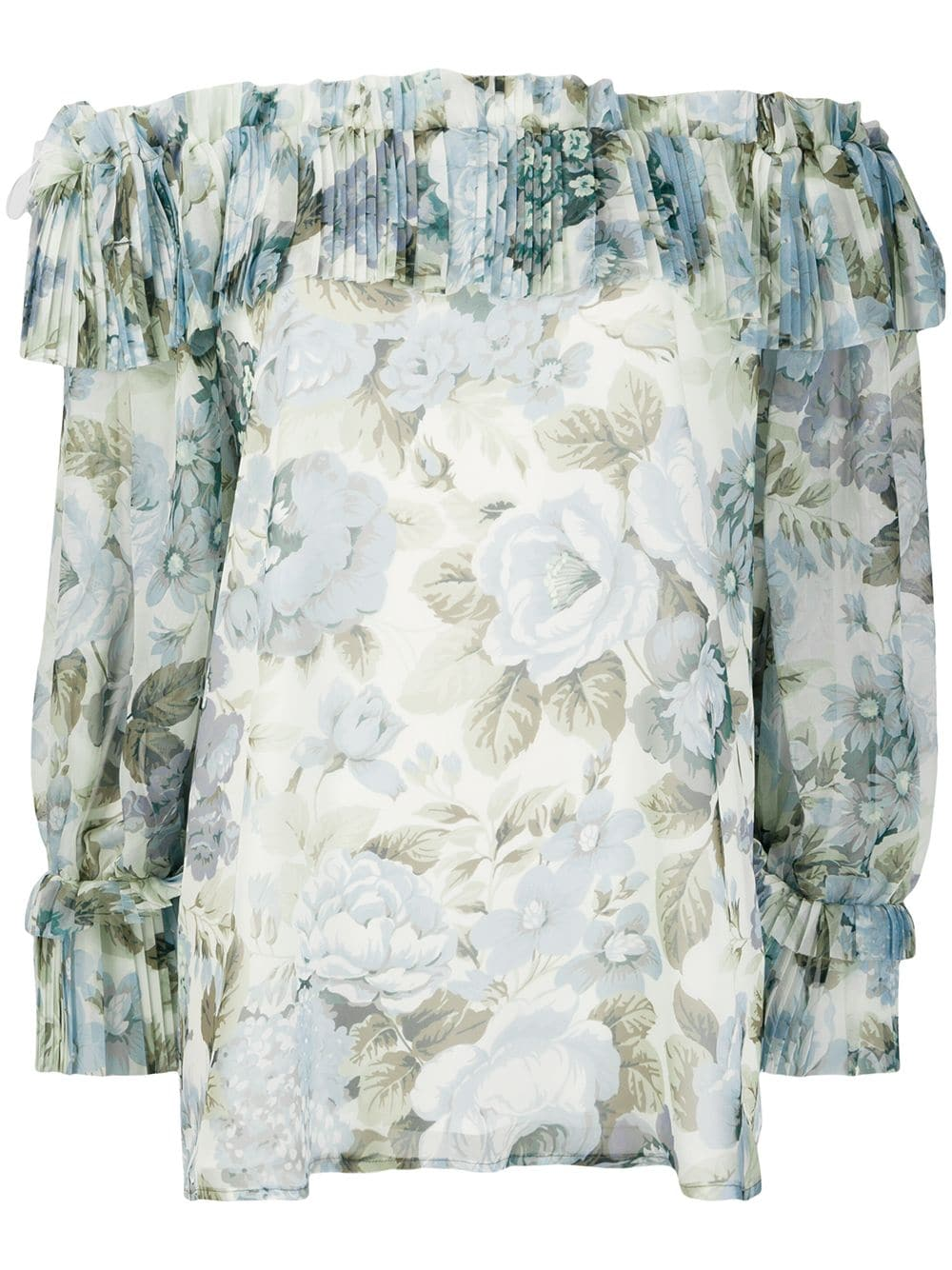 P.A.R.O.S.H. off the shoulder floral print blouse
