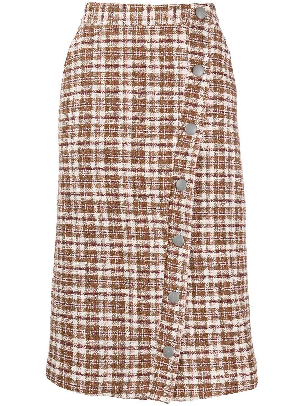 Remain plaid tweed pencil skirt