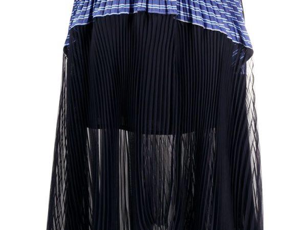 Sacai юбка асимметричного кроя со вставкой в полоску
