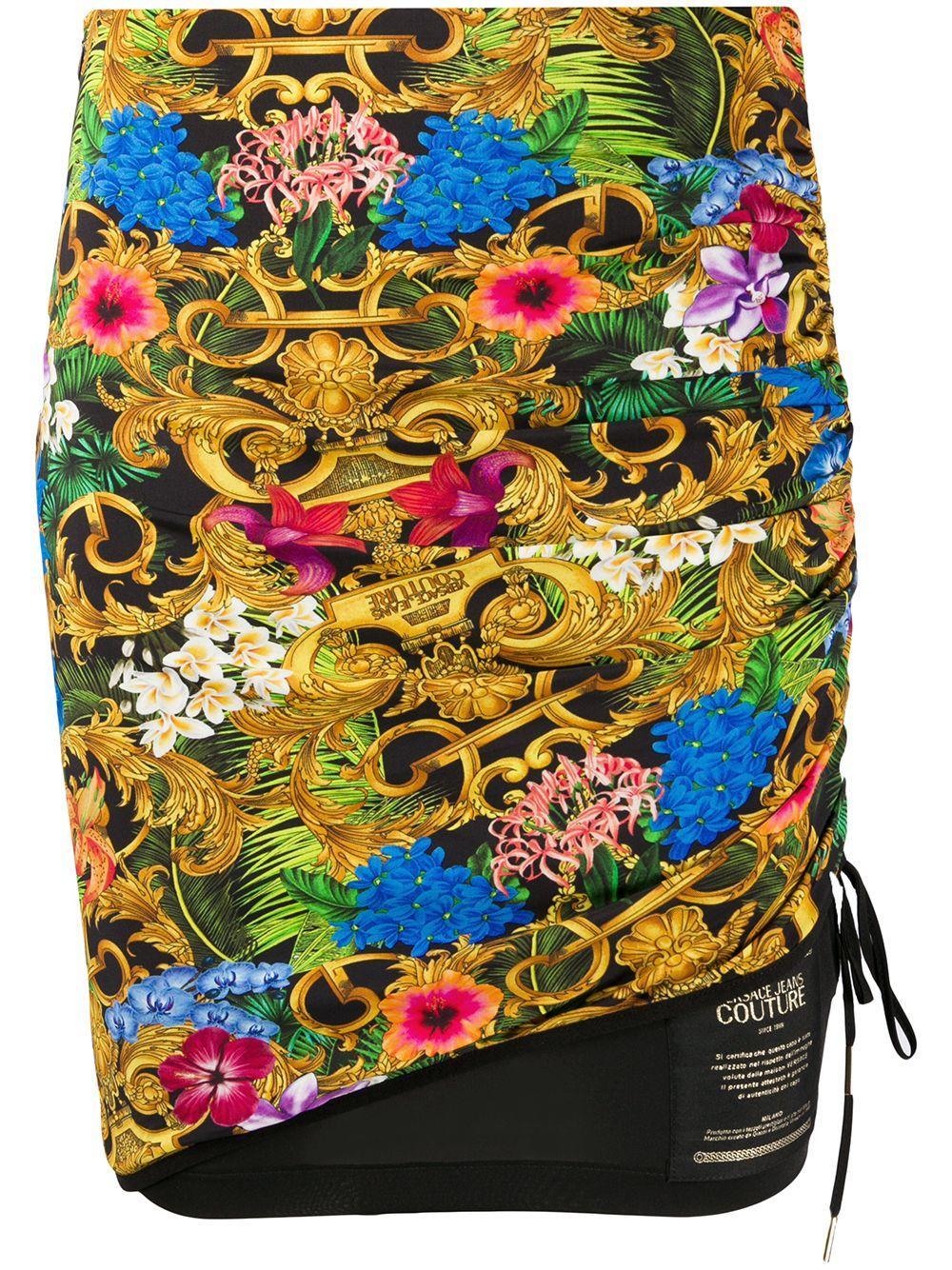 Versace Jeans Couture юбка со сборками и цветочным принтом